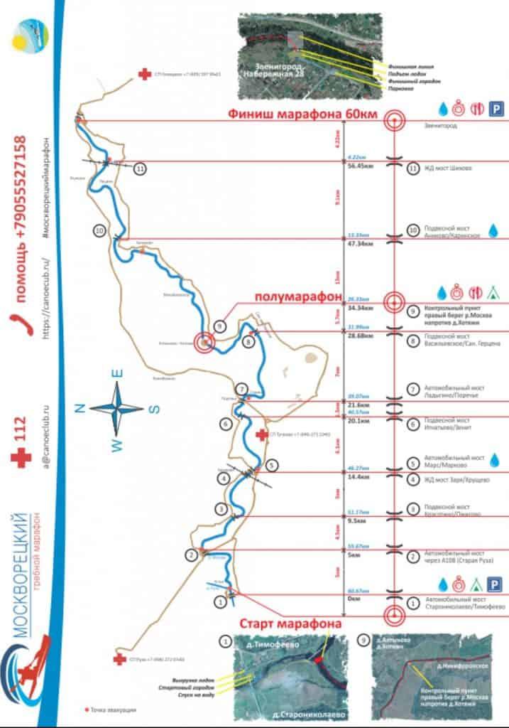 Схема дистанции Москворецкого гребного марафона
